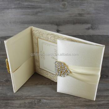 ... 2018 custom luxury boxed silk folio wedding invitation card with lace  ribbon buckle ... 29d7e680bbe0