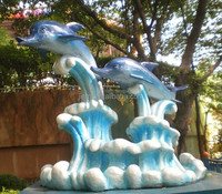 Ocean Park lovely artificial dolphin outdoor statues