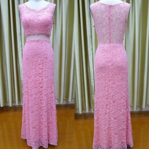 Floor Length Sleeveless Gown Beaded Patterns Of Lace Evening Dress