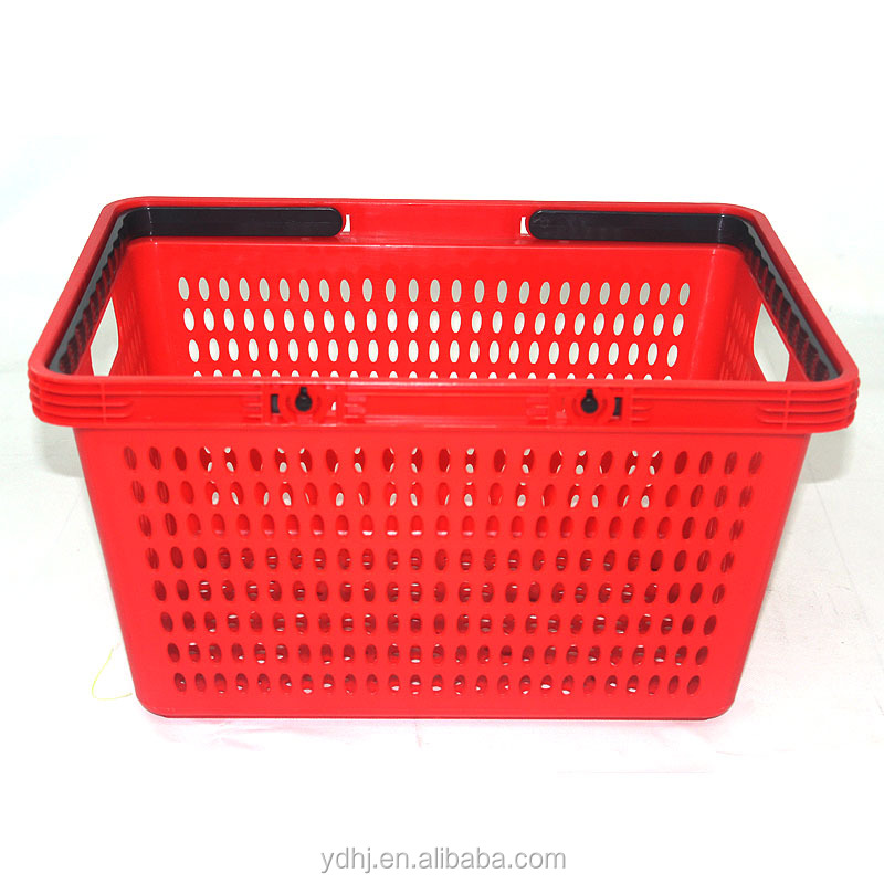 Plastic supermarket trolley shopping basket with handles new desgin