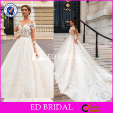 Stunning Long Sleeve Lace Appliqued Ball Gown Lace Appliqued Mermaid Wedding Dress Bridal 2016