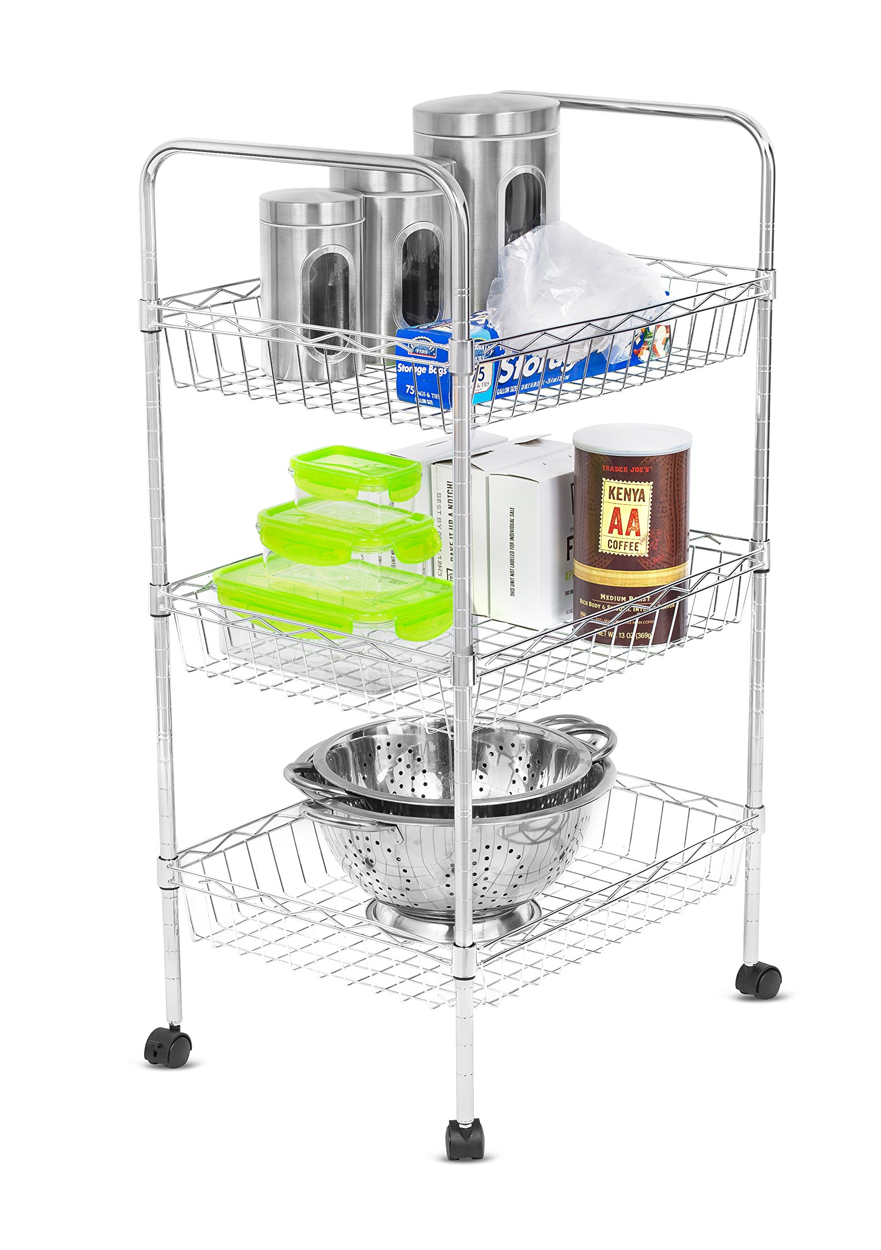 Internet's Best 3-Tier Kitchen Cart with Wire Baskets and Handles | Trolley with Locking Wheels | 3 Wire Baskets for Cooking Utensils or Food Pantry Storage | Laundry Room | Clothes | Bathroom