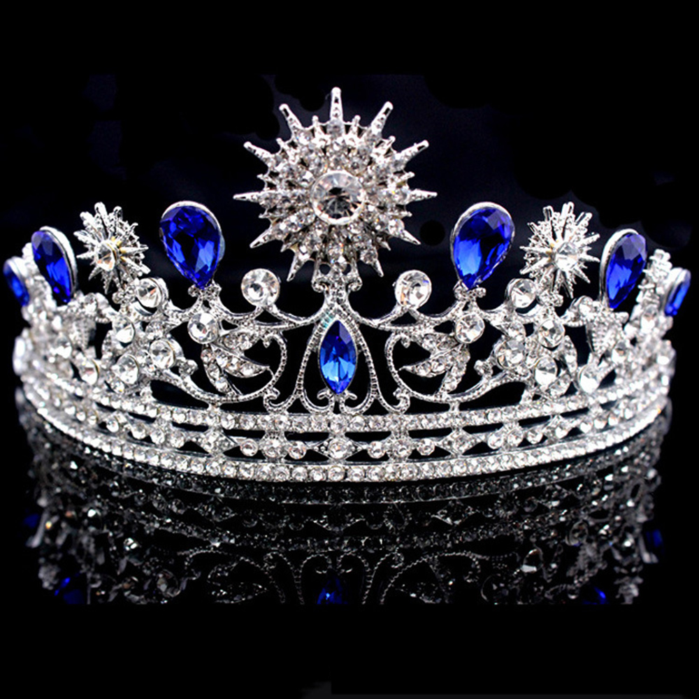 Wholesale High Quality Luxury beauty Rhinestone Full Round Pageant <strong>Crowns</strong> Blue Sunflower Pageant <strong>Crowns</strong> For Wedding Party