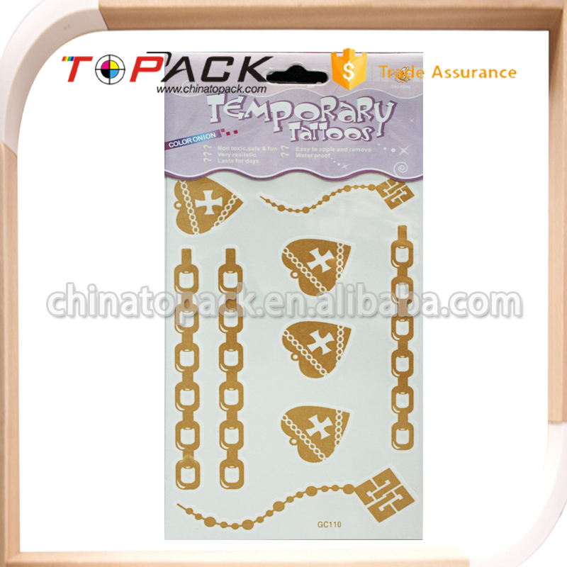 Customized golden body temporary tattoo sticker