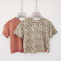 Summer wholesale leopard print cotton kids girls t shirt for children
