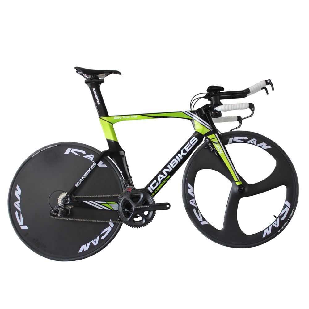2016 ican hidden cable carbon time trail bike carbon completed bike TT bicycle 9.11kg ULTEGRA 3 Spoke wheels +disc wheels TT01