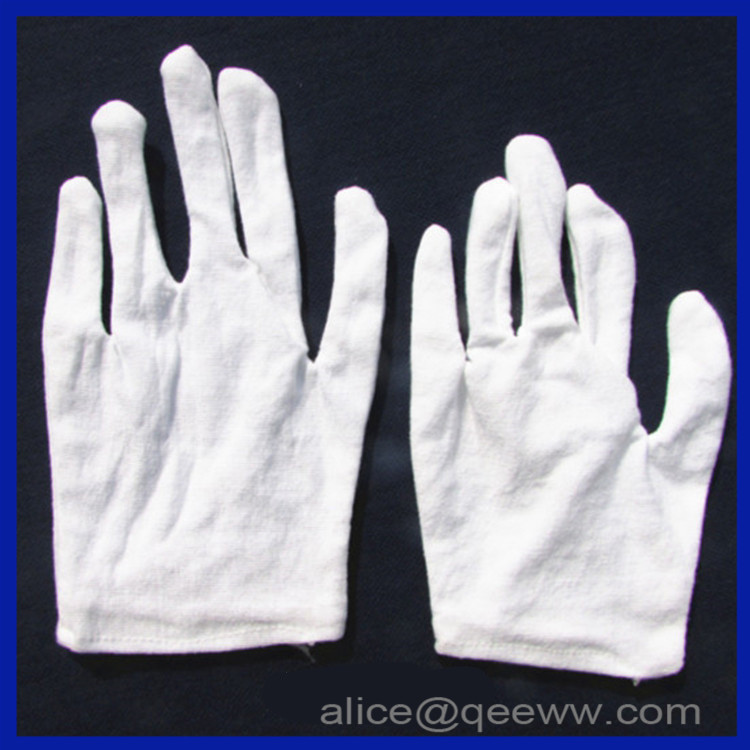 disposable thin white cotton Labour protection work gloves for reception and parade