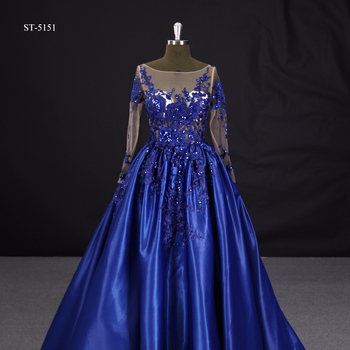2017 Latest Gown Long Sleeves Satin Fabric Designs Evening Dress Royal Blue Ball