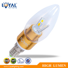 High lumen IP20 glass cover led candle lamp e14 SMD 3W cheap led candles