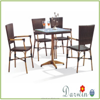Bamboo Looking Table And Chair Garden Rattan Table For Sale