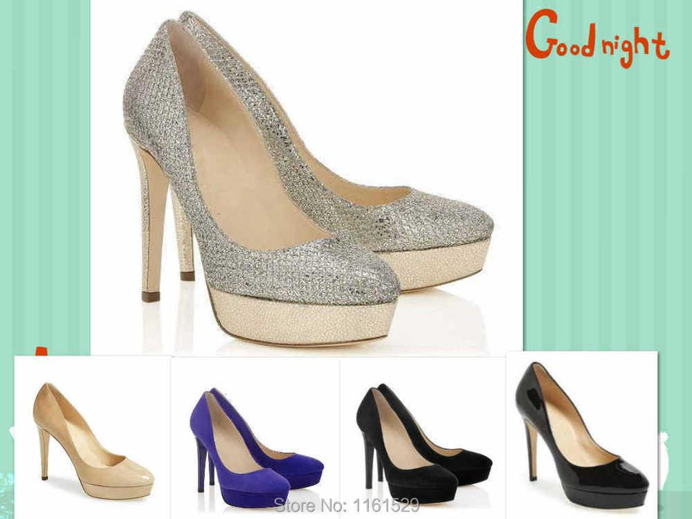 b0030a785 Get Quotations · Luxury Jimmy Bridal Shoes!Brand Champagne Glitter Fabric  Alex 115mm Platform Pumps Blue Suede Patent