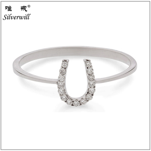Factory price wholesale lucky horseshoe ring 925 sterling silver jewelry