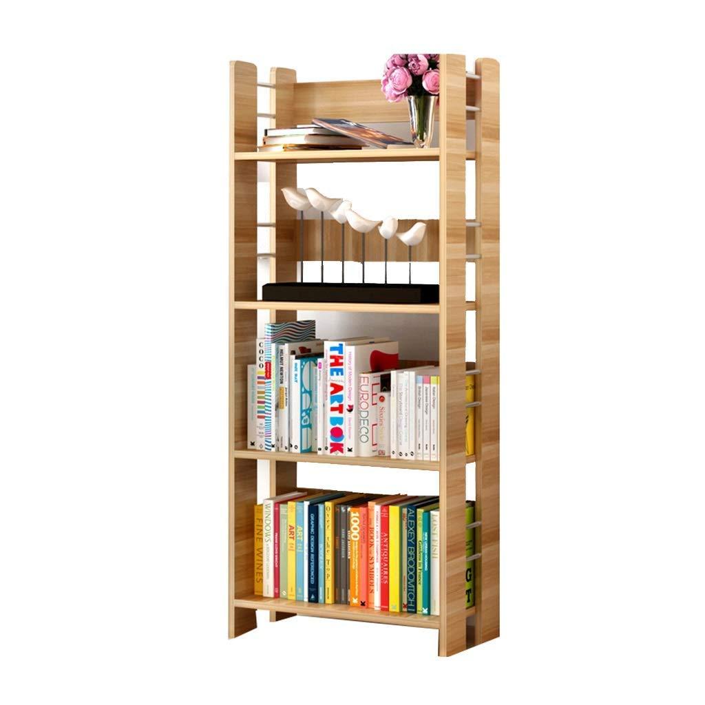 Xing Hua Shop Bookcase Shelf Combination Storage Cabinet Four-Story Shoe Rack Floor Bookcase Living Room Shelf Bookcase (Color : Wood Color, Size : 5026120cm)