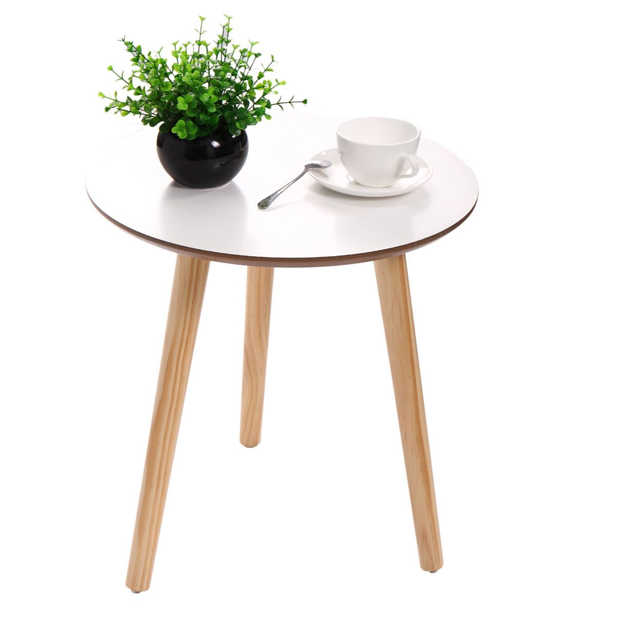 Get Quotations Tobbi Accent Round End Table Pine Wood 3 Legs Side White