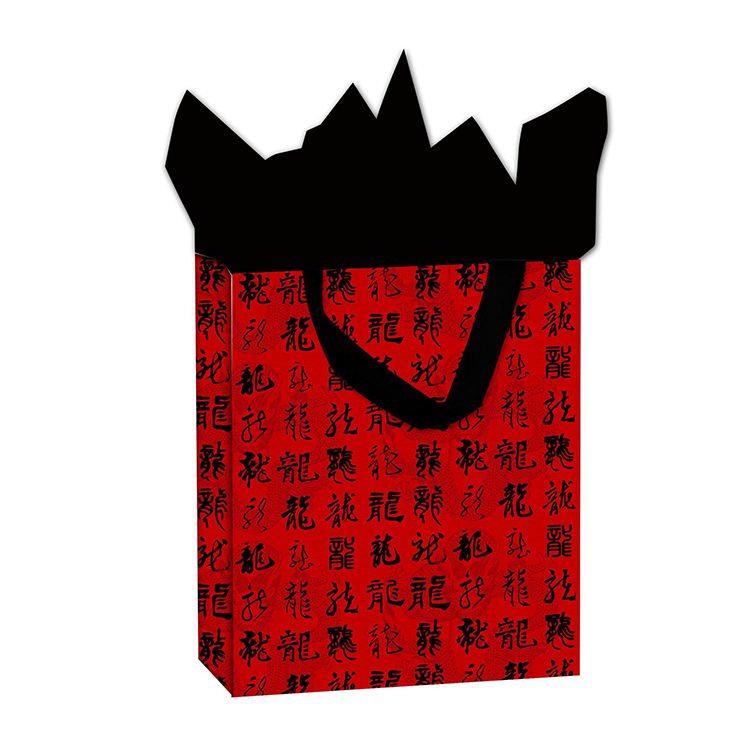 2019 Wholesale Manufacturer Cheap Calligraphy Black Handle Red Paper Hand Bags
