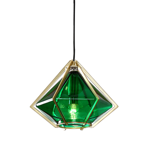 Hot Sales Indoor Lighting Modern Triangle Green Glass Suspension Pendant Lamp From Made In China