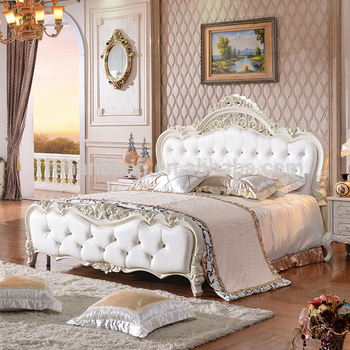 Latest double bed design furniture royal luxury white for Latest model bed design