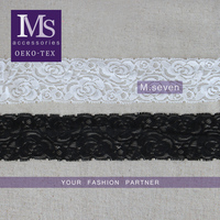 Hot selling B/W 6cm width spandex nylon lace with elastic