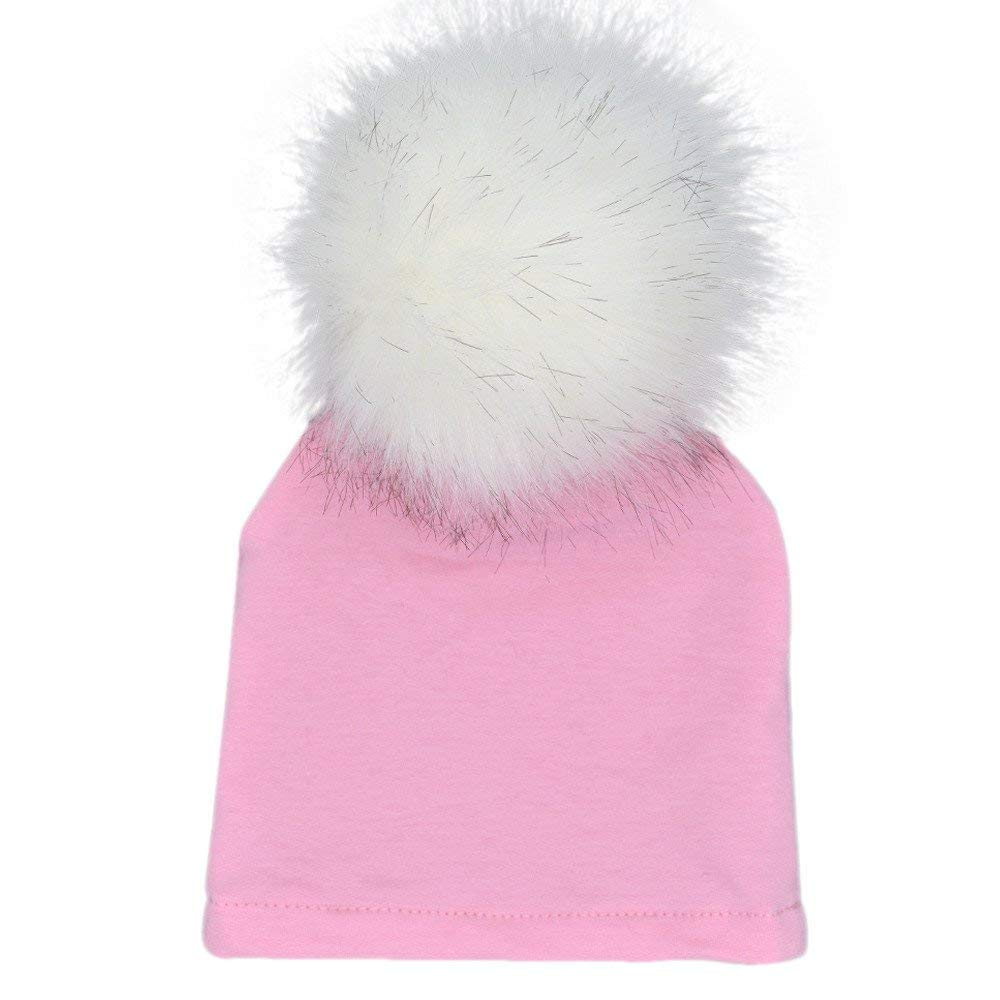 Get Quotations · Suma-ma Cotton Winter Warm Solid Hairball Beanie Hats Cap  for Newborn Infant Baby ( c8a8dbf48f0