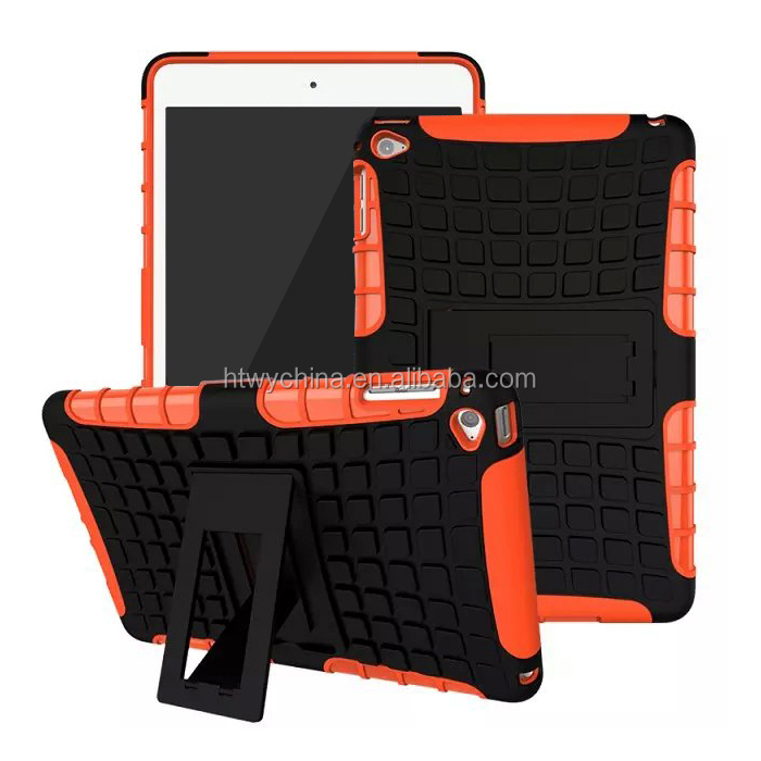 Showkoo new 2 in 1 hybrid silicon soft+PC hard black back stand case for IPAD Mini 4 football rubber case