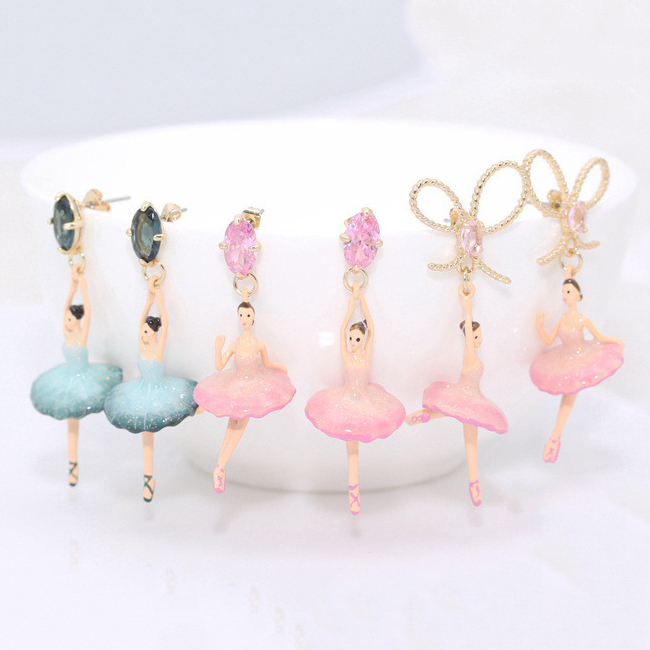 Les Nereides Women Pink Blue Ballet Girl Gem Bow Stud Earrings Noble Elegant Party Earring