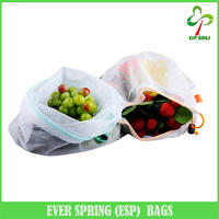 Set of 5 premium reusable mesh produce bags with drawstring, breathable eco friendly net bags for vegetables and fruits