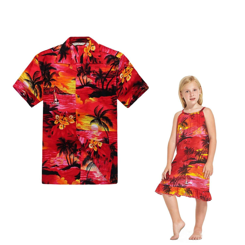 6deff6c62c25 Get Quotations · Hawaii Hangover Matching Father Daughter Hawaiian Dance Luau  Shirt Tunic Dress Sunset Red