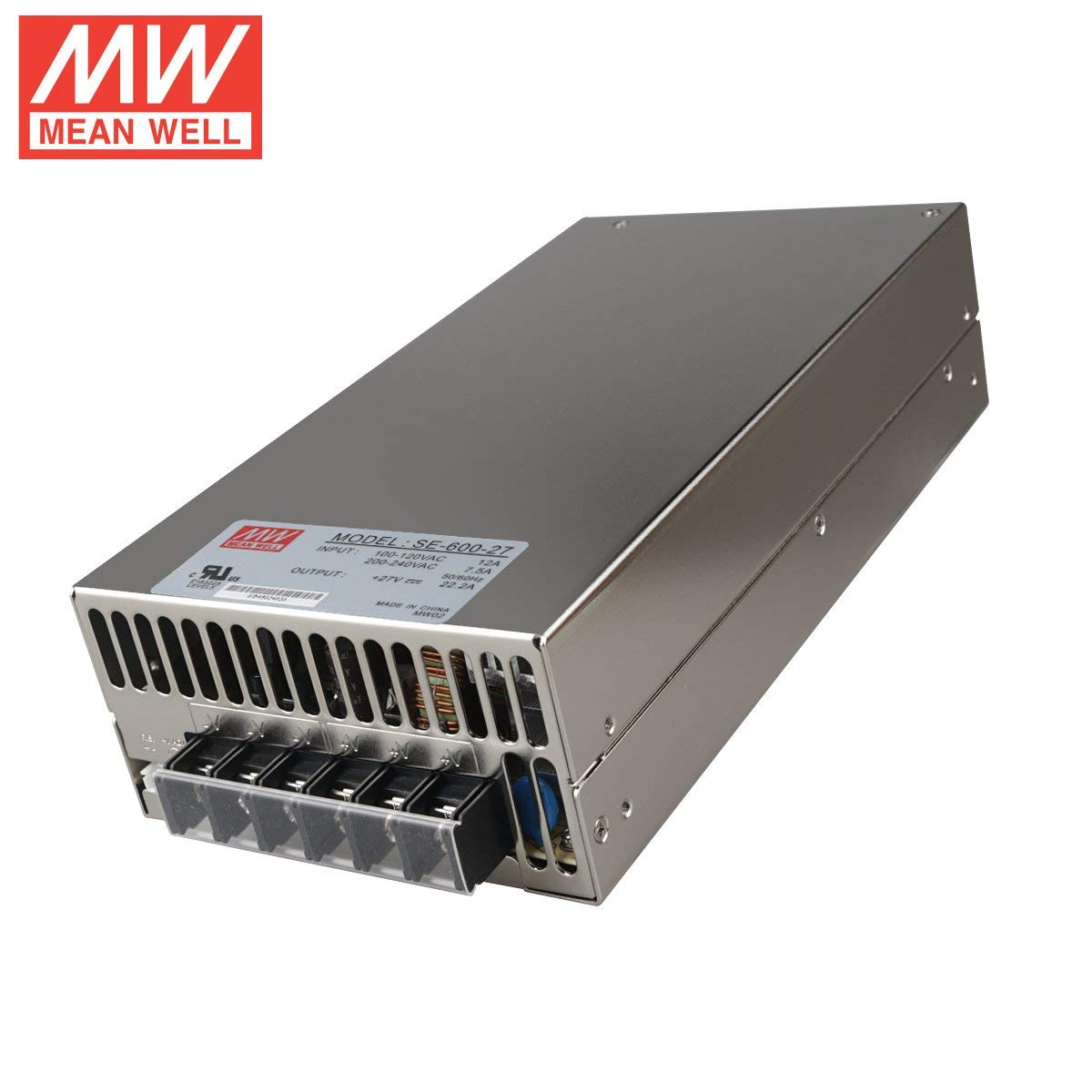 "Mean Well SE-600-27 Enclosed Switching AC-to-DC Power Supply, Single Output, 27V, 0-22.2A, 599.4W, 2.5"" H x 5.0"" W x 9.7"" L"
