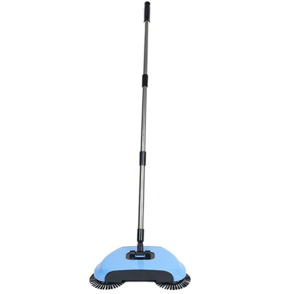 360 Degree Rotating Hand Push Floor Sweeper, Broom & Dustpan & Trash 3 in 1 Dual Brush Sweeper Household Broom Cleaning