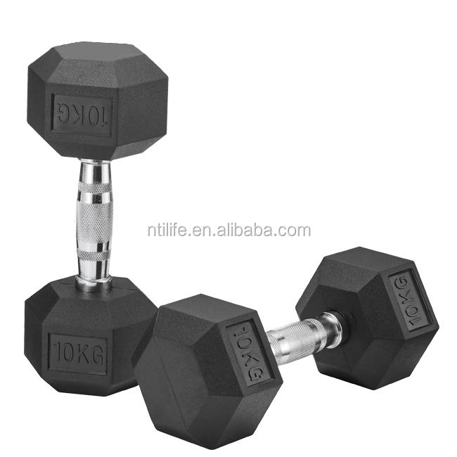 Equipamento Fixo de Borracha Gym Musculação Dumbbell da Borracha do Hex Halteres Hexagonal Preto
