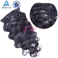 Cheap Natural Black Brazilian Body Wave Clip In Remy Human Hair Extensions