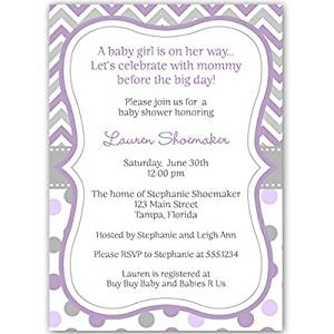 Baby Shower Invitations, Lavender, Purple, Chevron, Stripes, Polka Dots, Its a Girl, 10 Custom Printed Invites with Envelopes, FREE Shipping, FREE Shipping