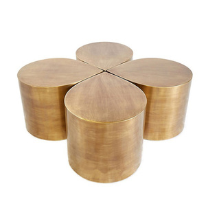 Creative modern brushed brass four-leaf clover combination coffee table