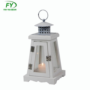 Trapezoidal white outdoor wedding wooden candle lantern festival