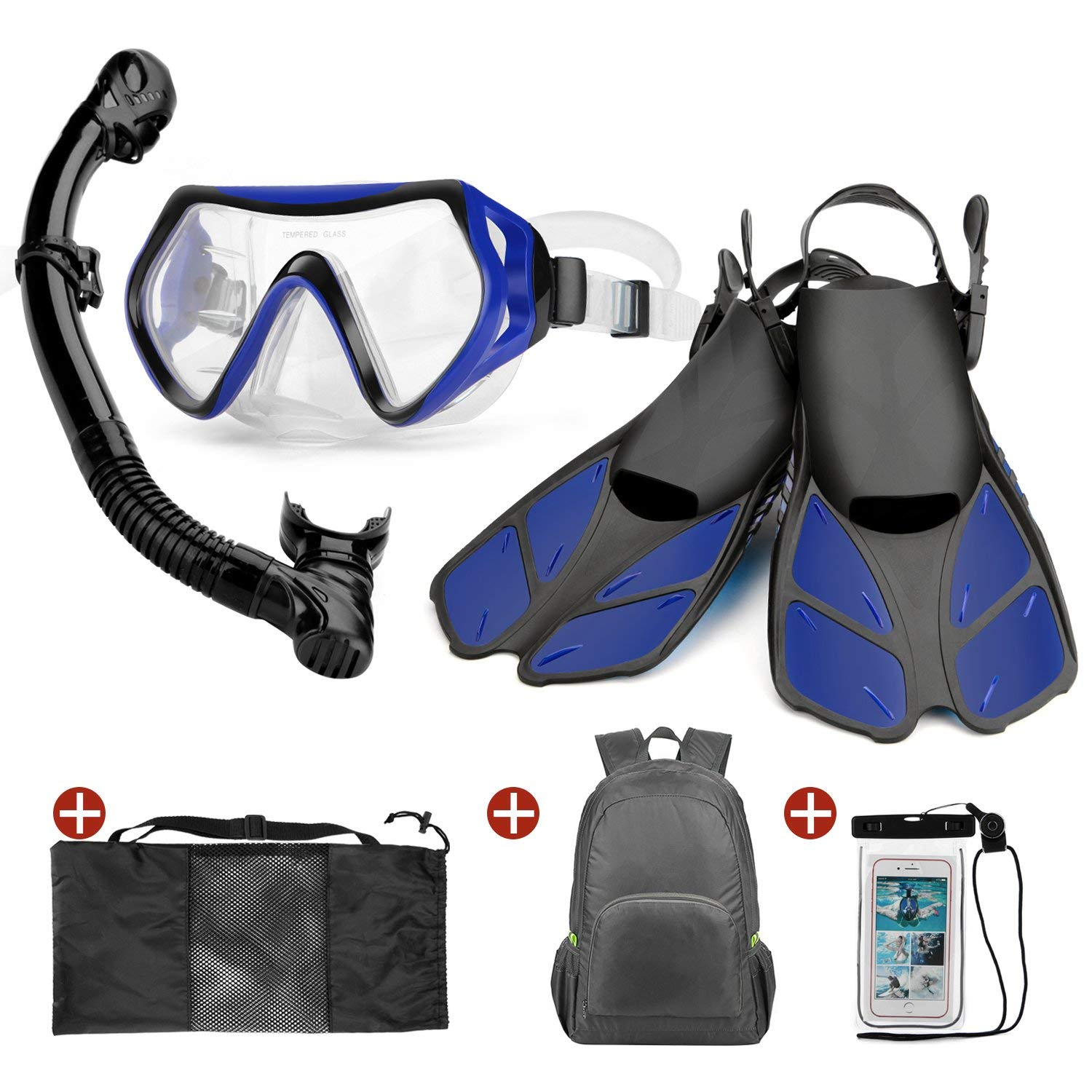 Gopro Compatible Snorkel Mask Full Face by ABTECH Kids Size Panoramic View