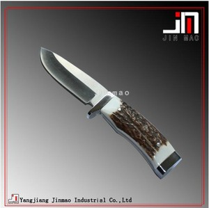 Hand Crafted Deer Horn Handle Fixed BladeHunting Knife