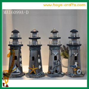 Indoor decoration rustic woodwork wooden lighthouse kits