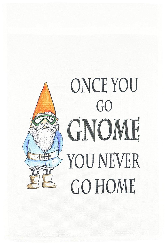 3dRose fl_124000_1 Once You Go Gnome You Never Go Home Gnome Humor Elf Cartoon Garden Flag, 12 by 18-Inch