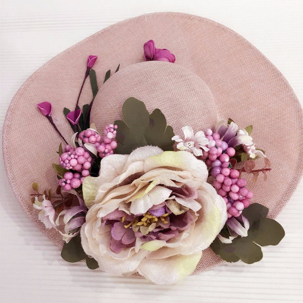 Brown color With flowers western style wedding hats Women headwear Brides Hair Accessories Home decor photography Multiple uses