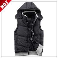 Essential wholesale padded mens winter vest with hood