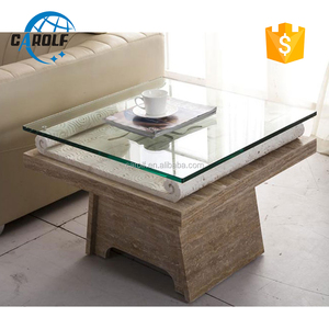 Hand Caved Glass Top Travertine Stone Base Side Table