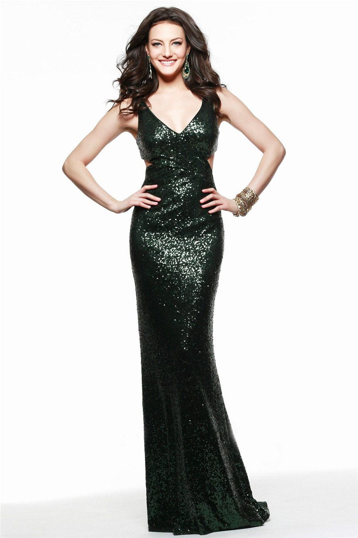 Black long sequin prom dress
