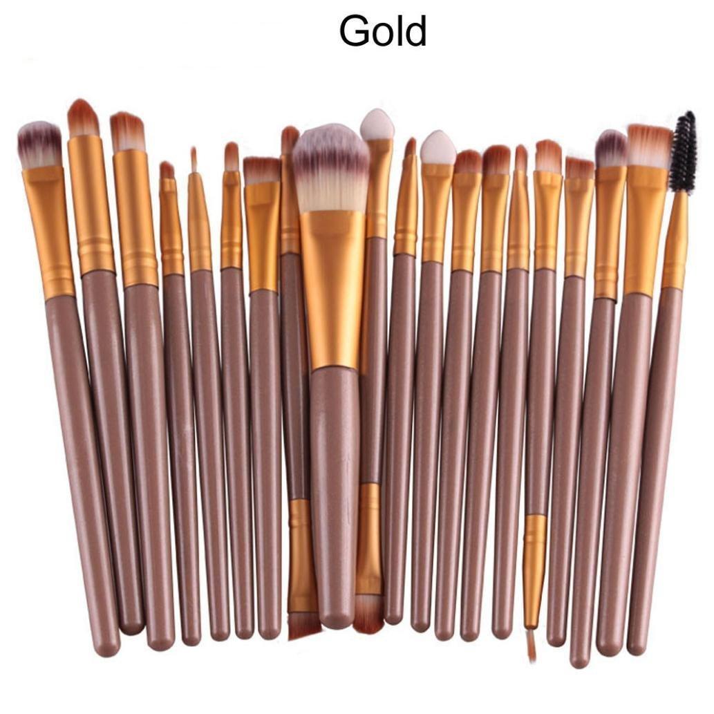 AMA(TM) 20 pcs/set Makeup Brush Set tools Make-up Toiletry Kit Wool Make Up Brush Set (Gold)