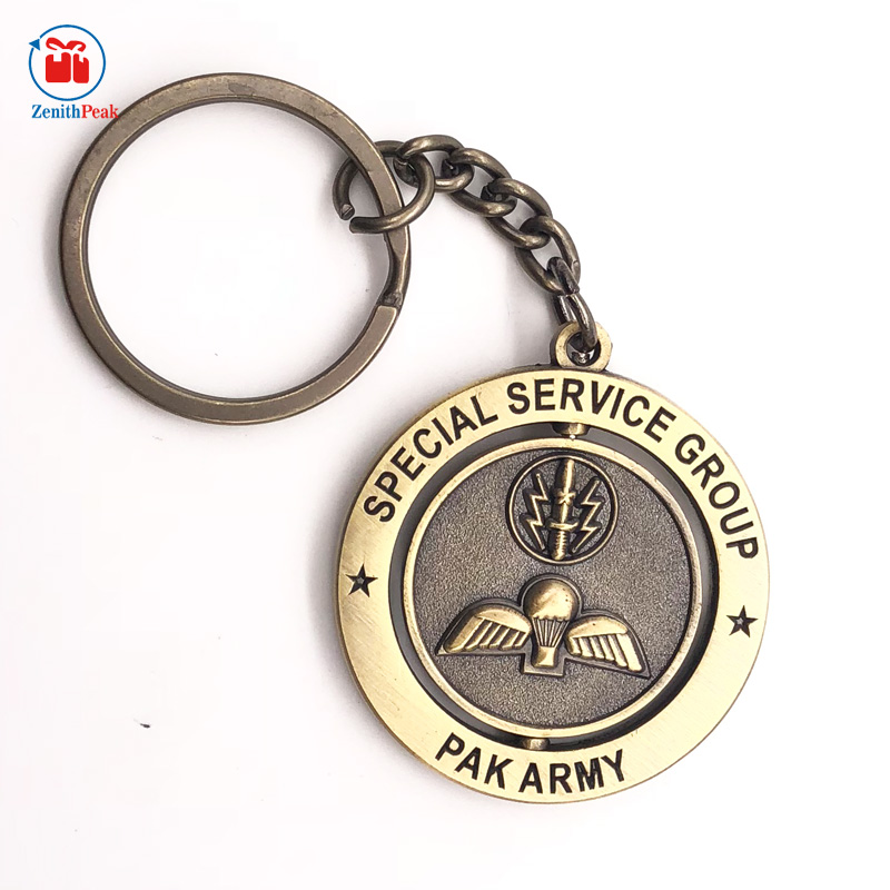 Antique design metal rotatable special service keychain