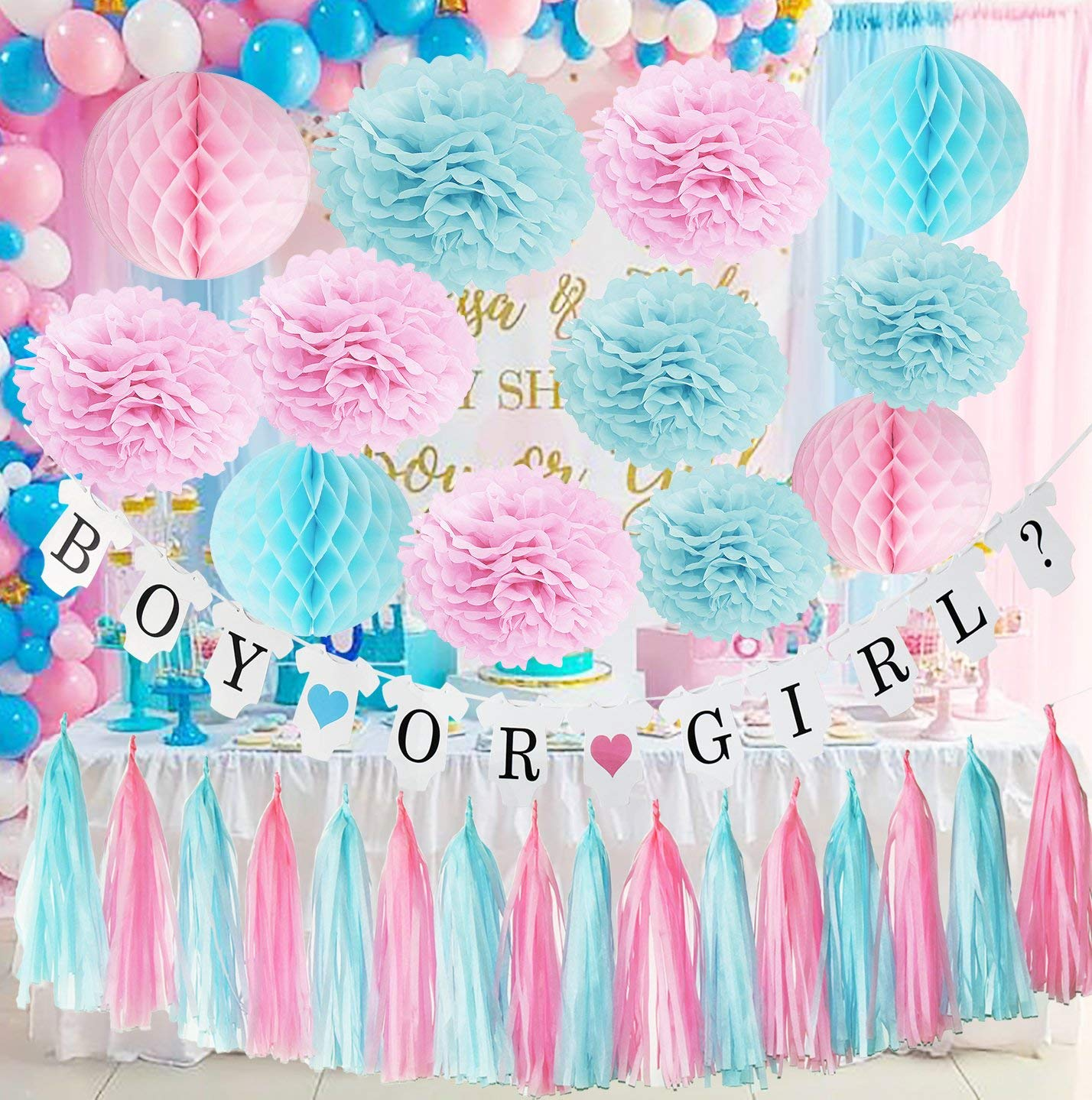 Gender Reveal Party Supplies Boy or Girl Banner - Boy or Girl Party Decorations Baby Shower Baby Shower Party,Newborn Baby Celebration Pink and Blue Decorations/Gender Reveal Decorations