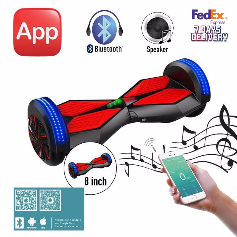 2017 sgleds hoverboard with mobile app 8 inch bluetooth. Black Bedroom Furniture Sets. Home Design Ideas