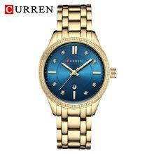 Часы CURREN женские, кварцевые, классические, золотого и серебряного цвета(Китай)