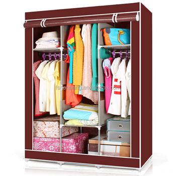 Fabric Steel Portable Clothes Rack Almirah Closet Storage Organizer With  Shelves