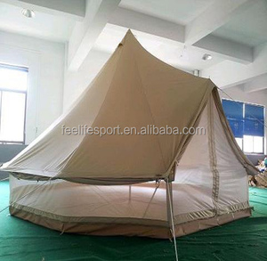 luxury cotton camping 3-7M bell tent hiking equipment with chimney