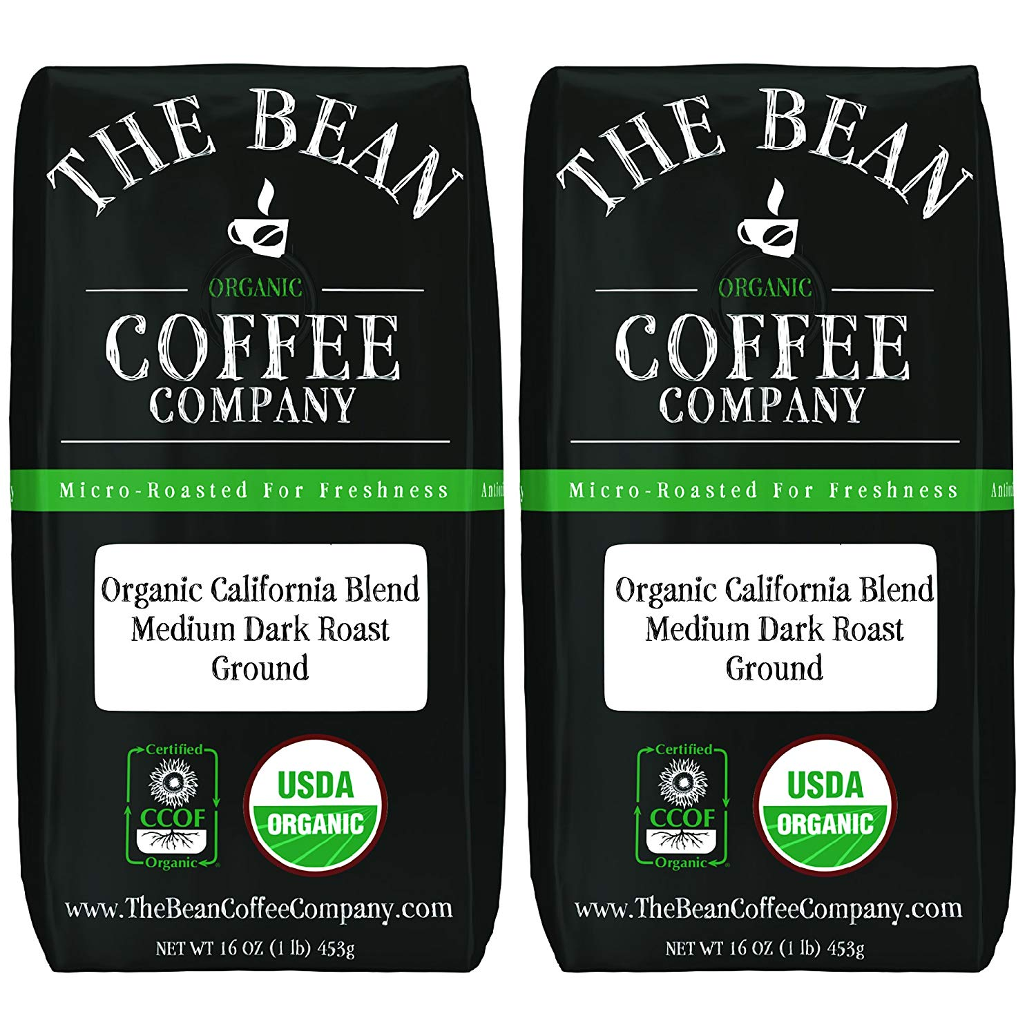 The Bean Coffee Company Organic California Blend, Medium Dark Roast, Ground, 16-Ounce Bags (Pack of 2)